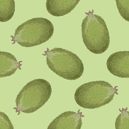 Seamless Pattern with Whole Feijoa Illustration