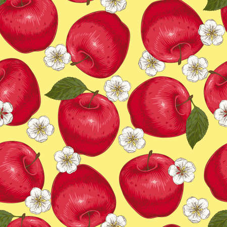 Seamless Pattern with Red Apples and Flowers Ilustración de vector