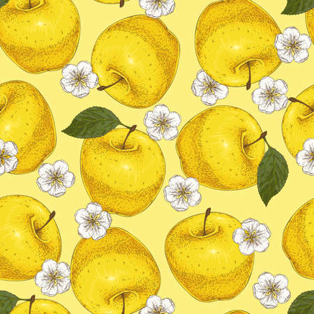 Patrón transparente amarillo con manzanas y flores