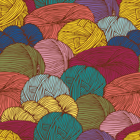 Seamless Pattern with Scattering Hanks of Yarn Ilustrace