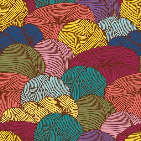 Seamless Pattern with Scattering Hanks of Yarn Reklamní fotografie - 124164560
