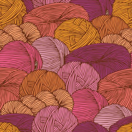 Seamless Pattern with Warm Colors Hanks of Yarn Ilustrace