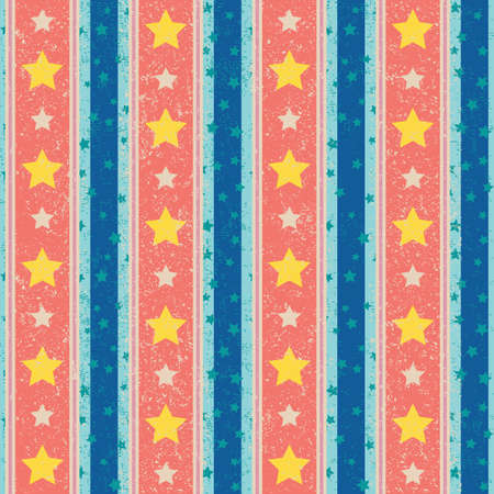 Vintage seamless vector pattern with stripes and stars Çizim
