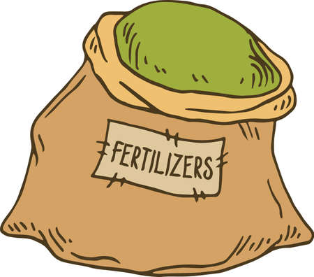 Bag of Fertilizers. Vector Illustration Isolated on White