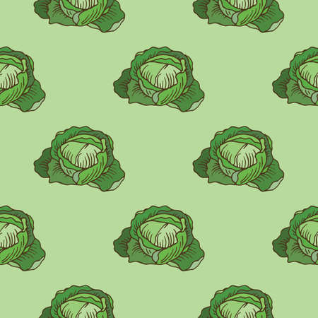 Green Cabbage Simple Seamless Pattern on Green Background. Vector Iluustration