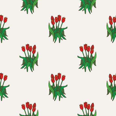 Red Tulips Bouquet Seamless Pattern on Beige Bacground Illustration