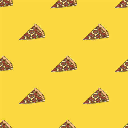 Simple Vector Seamless Pattern with Pepperoni Pizza Slices on Yellow Background