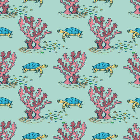 Sea Seamless Pattern with Corals, Fishes and Turtles on Blue Background Illustration