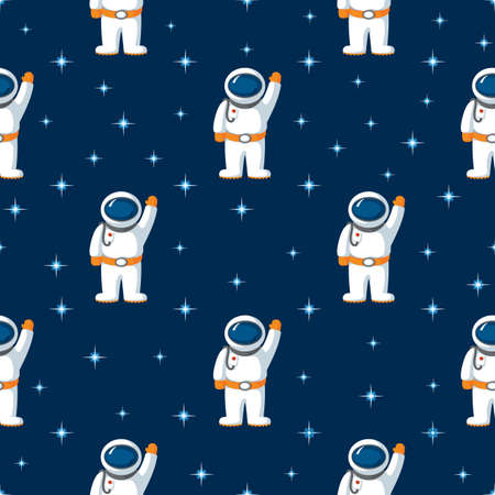 Seamless Flat Pattern with Spaceman and Stars