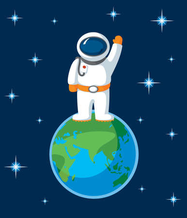 Spaceman and Earth with Stars in Flat Style. Hand Raised in Greeting