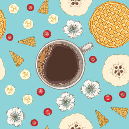 Seamless Pattern with Morning Coffee