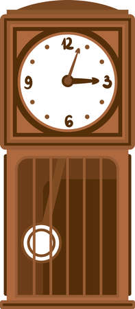Retro Brown Clock with Pendulum in Flat Style