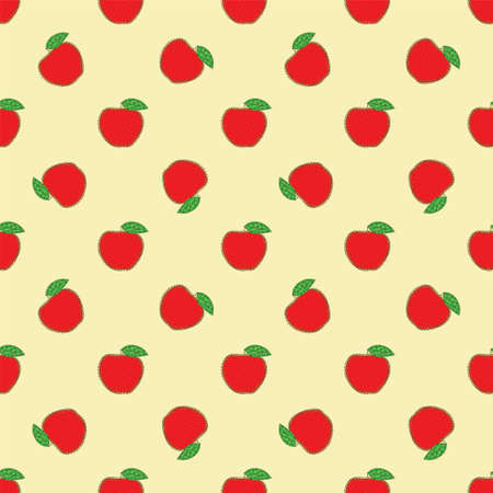 Seamless Pattern with Patchwork Red Apples