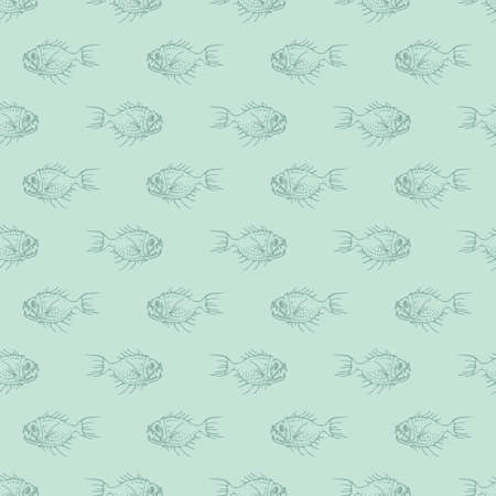 Simple Seamless Pattern with Underwater Predator Fishes on Blue Background