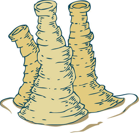 Three Beige Underwater Tube Sponges Isolated on White Background
