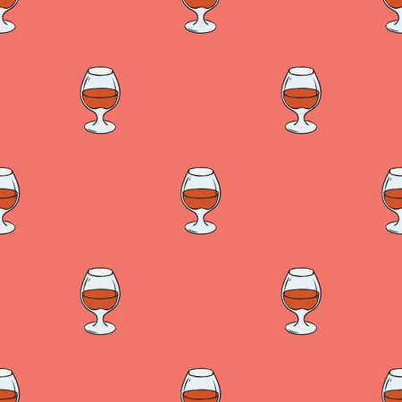 Regular Seamless Vector Pattern. Glasses with Brandy on Pink Background