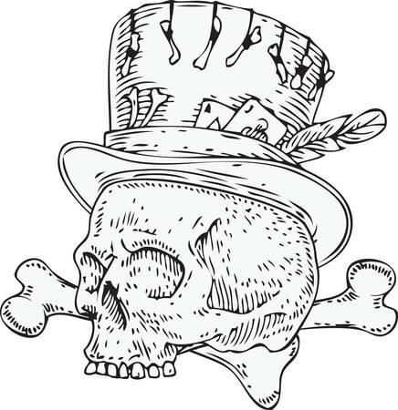 Voodoo Skull in Old Hat 版權商用圖片 - 135392697