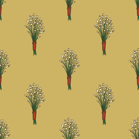 Seamless Pattern. Dried Grass Bouquet with White Flowers on Brown Background Ilustração