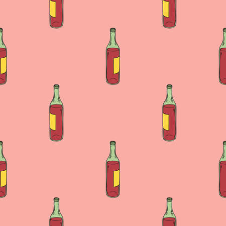 Red Wine Bottles Seamless Pattern