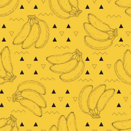 Seamless Pattern with Bananas, Triangles and Zigzags