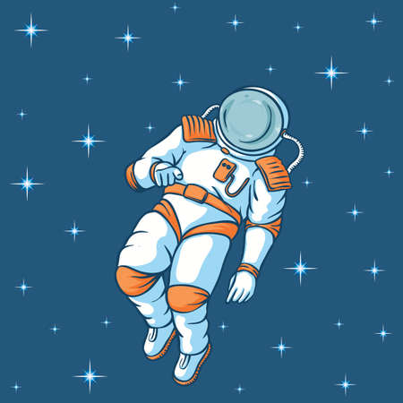 An Astronaut in Outer Space Flies Between the Stars and Points a Finger Ilustração