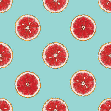 Seamless Pattern with Grapefruit Slices