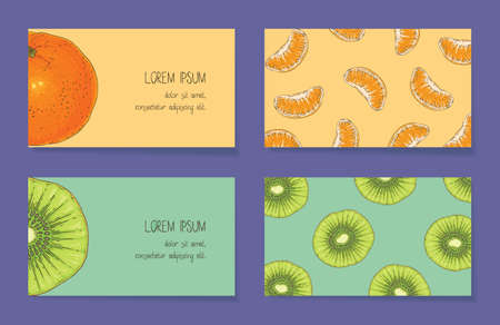 Fruit Business Cards Template Collection 向量圖像