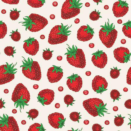 Ripe Red Berries Seamless Pattern. Strawberries, Cranberries and Raspberries 版權商用圖片 - 135392898