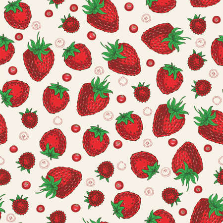 Ripe Red Berries Seamless Pattern. Strawberries, Cranberries and Raspberries