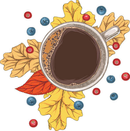 Cup of Coffee, Autumn Leaves and Berries