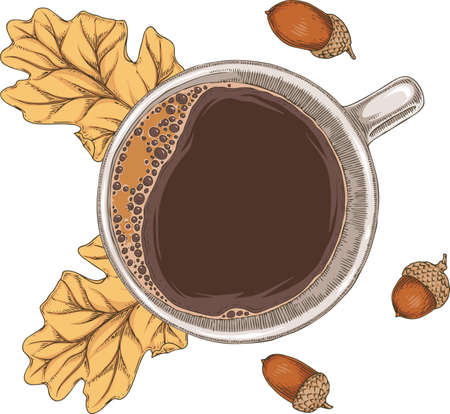 Cup of Coffee, Autumn Leaves and Acorn