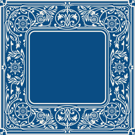 Classic Blue Floral Square Frame