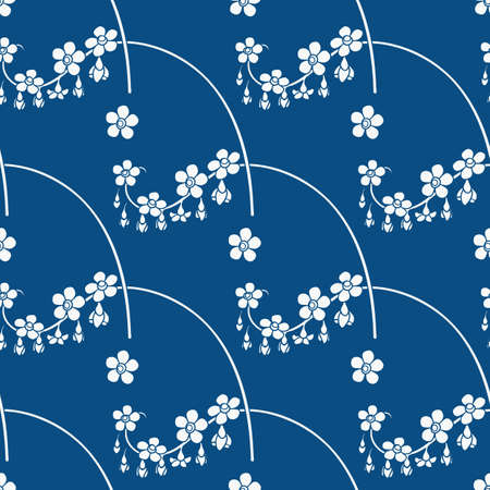 Blue Floral Seamless Pattern with White Flowers