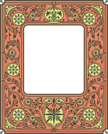 Autumn Border or Frame with Orange and Yellow Flowers. White Blank Space in the Centre. Book Cover Template