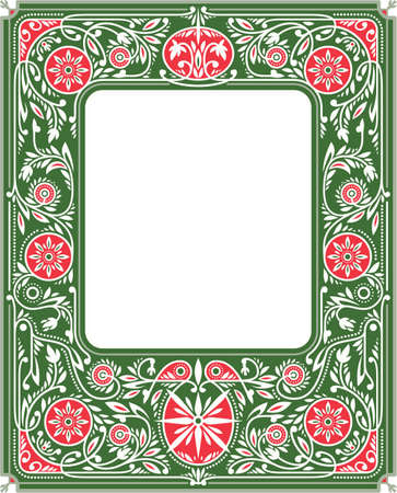 Spring Border or Frame with Green and Red Flowers and Ornate. White Blank Space in the Centre. Book Cover Template