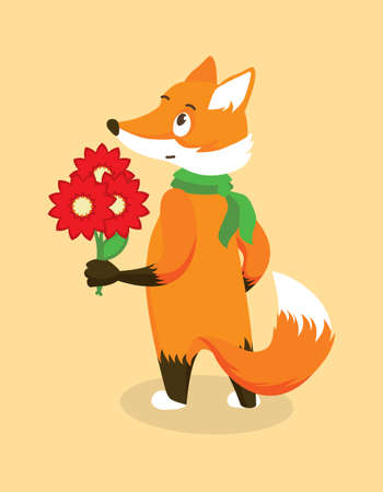 Anthropomorphic Red Fox in a Green Scarf with a Bouquet of Red Flowers. Isolated Character on Orange Background. Vector Illustration in Flat Style