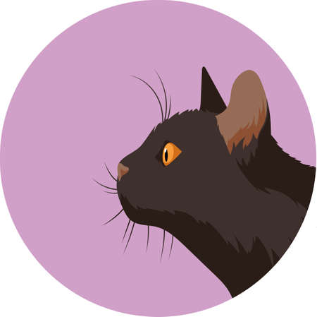Profile Portrait of a Black Cat in a Purple Circle. Flat Style Illustration