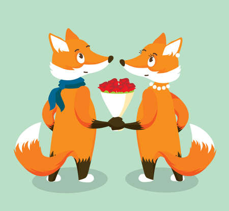 Anthropomorphic Red Foxes in Love with a Bouquet of Red Roses. Isolated Character on Turquoise Background. Vector Illustration in Flat Style 向量圖像