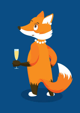 Anthropomorphic Red Lady Fox with a Glass of Champagne. Isolated Character on Blue Background. Vector Illustration in Flat Style