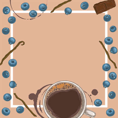 Coffee in White Cup, Vanilla Pod, Blueberries. Square Menu Template with Blank Area in the Centre and White Frame. Coffee Spots on Beige Background