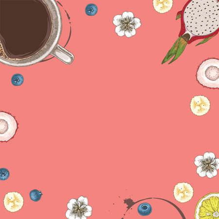 Coffee in White Cup, Blueberry, Flowers, Dragon Fruit, Banana Slices, Lemon and Lychee. Square Cafe Card or Menu Template with Blank Area in the Centre on Pink Background Illustration