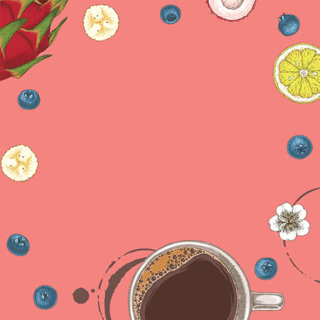 Pink Card with Coffe and Fruits Illustration