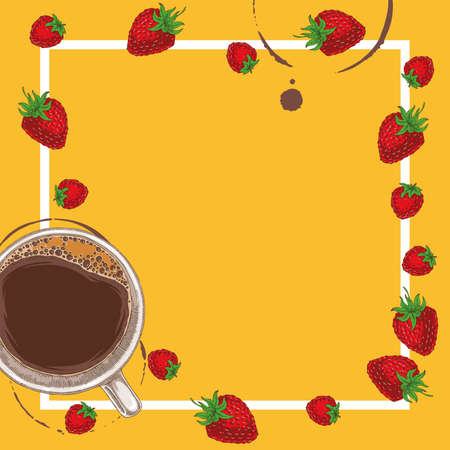 Square Menu Template with Coffee, Raspberry and Strawberry on Orange Background with Blank Area in the Centre and White Frame