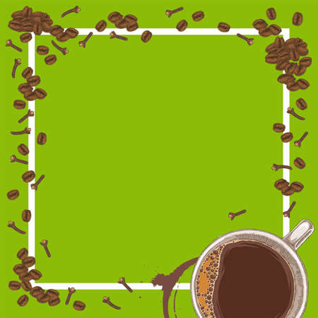 Square Green Menu Template with Coffee
