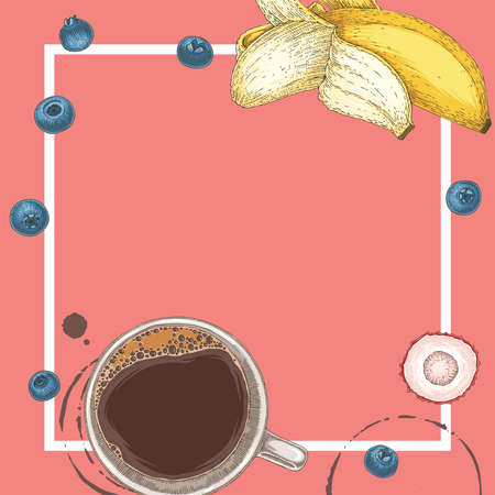 Coffee in White Cup, Blueberry, Banana Slices and Lychee. Square Cafe Menu Template with Blank Area in the Centre on Coral Background Иллюстрация