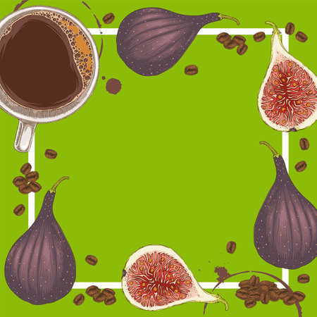 Green Menu Template with Coffee, Ripe Figs and Coffee Beans on Green Background with Blank Area in the Centre