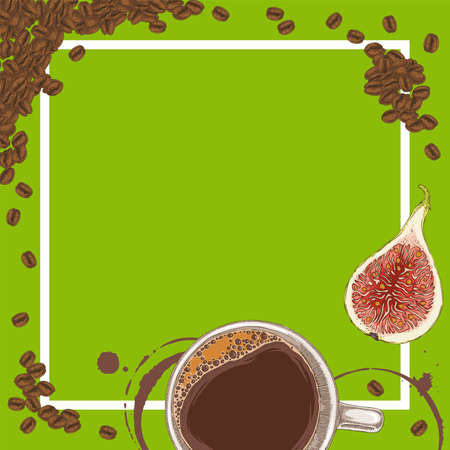 Green Menu Template with Coffee, Figs and Coffee Beans on Green Background with Blank Area in the Centre