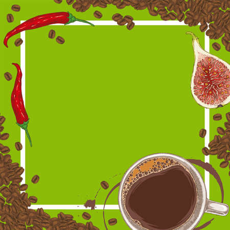 Green Menu Template with Coffee, Figs, Chili Peppers and Coffee Beans on Green Background with Blank Area in the Centre Иллюстрация
