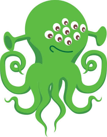 Green Alien with Many Eyes and Tentacles 版權商用圖片 - 144037179