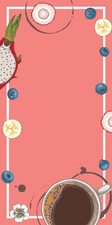 Coffee in White Cup, Blueberry, Dragon Fruit and Cross Section Lychee. Rectangle Dessert Menu Template with Blank Area in the Centre and White Frame. Coffee Spots on Pink Background